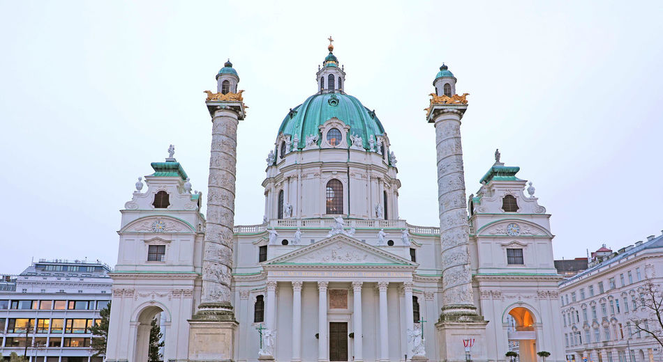 St. Charles's Church (Karlskirche) in Vienna, Austria Building Exterior Architecture Built Structure Sky Dome Place Of Worship Religion Belief Spirituality Low Angle View Building Nature Travel Destinations Travel Tourism City History The Past No People Outdoors Government Architectural Column St. Charles's Church (Karlskirche) In Vienna, Austria St. Charles's Church (Karlskirche) In Vienna, St. Charles's Church (Karlskirche)