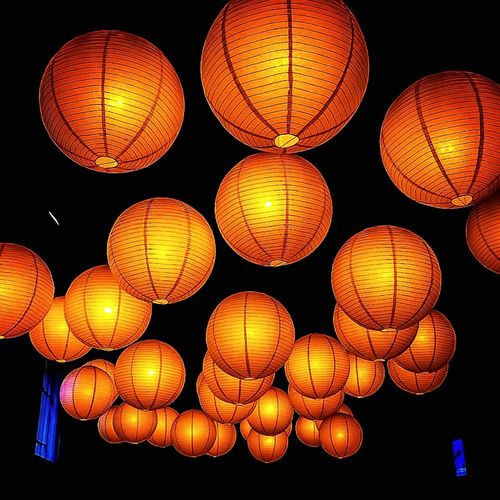 Group Of Objects Hanging Lantern Low Angle View Chinese Lantern Shape Round Pattern Decoration Lights Art Museum Display