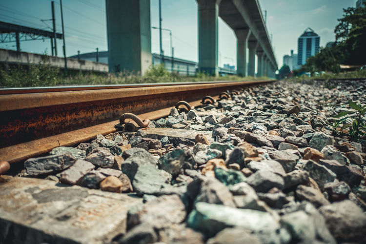Surface level of railroad track