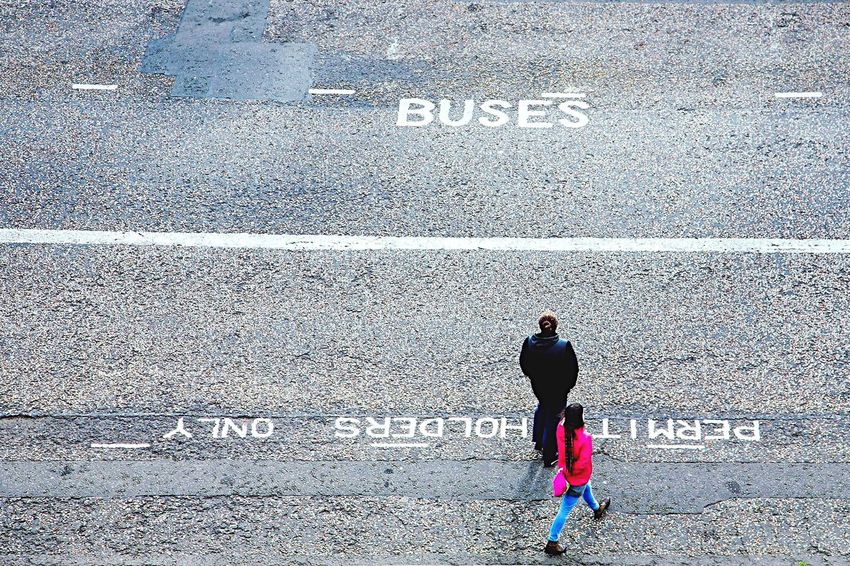 Edinburgh Road Marking Personal Perspective Buses View From Above Pink Pink Jacket Crossing The Street