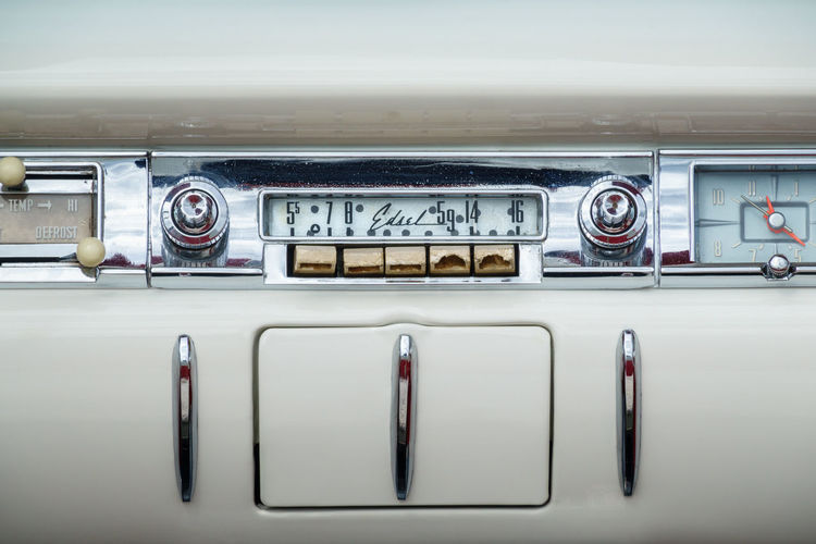 Close-up of vintage car radio