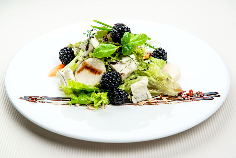 Seasonal leaf salad with Gorgonzola and blackberries Cuisine Dinner Dinning Meal Time Salad Table Setting Wild Blackberries Appetizing  Cheese Close-up Delicacy Delicious Food Gorgonzola Gourmet Main Course No People Nobody Plate Restaurant Restaurant Food Seasonal Salad Serving Dish Tasteful Tasty