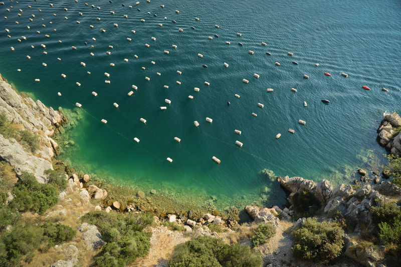 High Angle View Of Buoys Floating In Sea