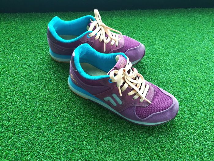 saturday workout!! EyeEm Gallery Violet Violet Shoe Workout#gym#fitness Workout Colorful Dayoff Fitroutine Routine Sport Pair Shoe Grass Green Color Close-up Things That Go Together Footwear Womenswear