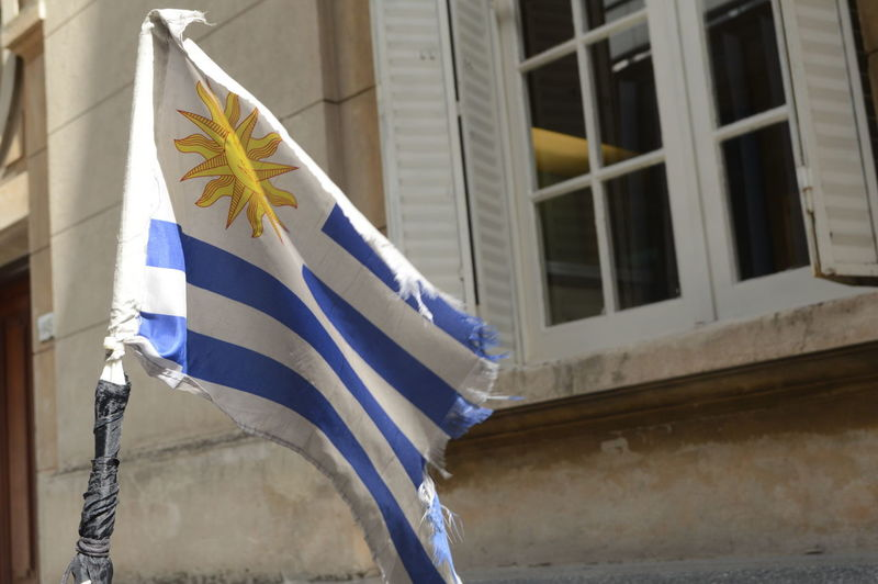 Uruguayan flag dancing in the wind. Cityspotting Freewalkingtour FWTMontevideo Montevideo Montevideo,Uruguay Montevideouruguay Sightseeing Tour Solotravel Uruguay Flag Visualanthropology