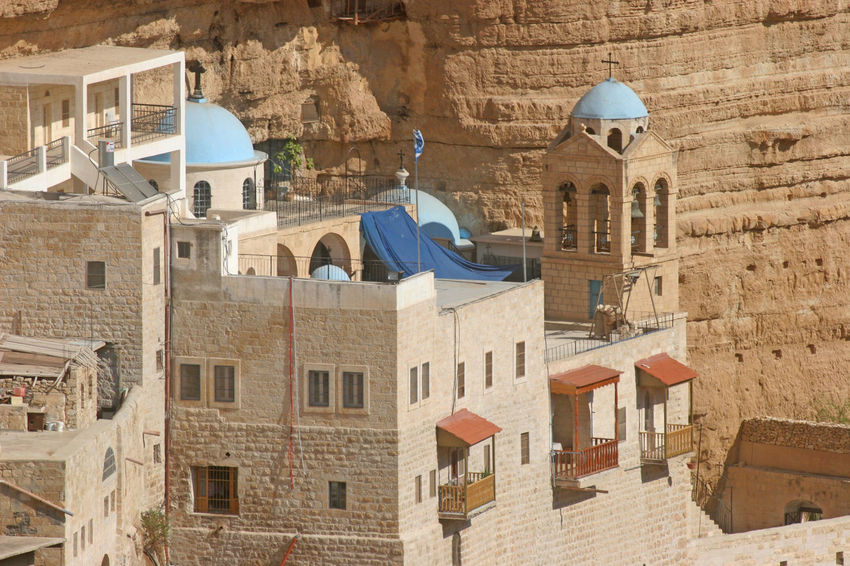 Saint George monastery in Judea desert, Israel Abbey Architecture Building Exterior Built Structure Canyon Church Cliff Desert Dome George Israel Judea Middle East Monastery Mountain Nature Palestine Place Of Worship Rock Sand Sandstone Stone Valley Wilderness Worship