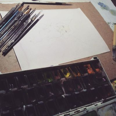 Nighttime Sketching Drawing Watercolor working on new tiny piece of art drawing_fairy