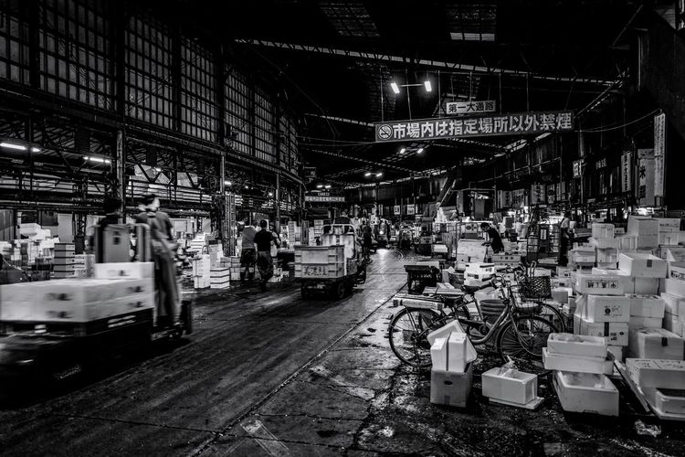 Tsukij Market (closing) Memory Black And White Bw Market Built Structure Architecture Illuminated Night No People Transportation City Building Exterior Mode Of Transportation Car Street Abundance Consumerism Motor Vehicle Outdoors Large Group Of Objects Land Vehicle Shopping