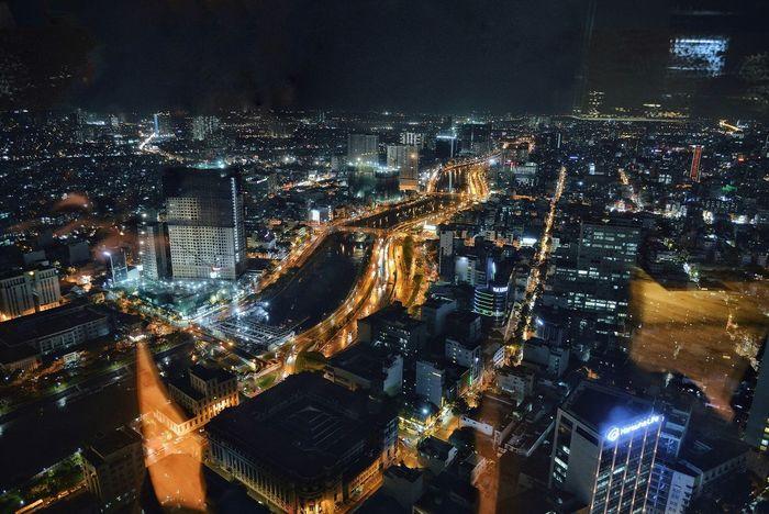 Bitexco Night Illuminated Cityscape Architecture City Building Exterior Modern Skyscraper Outdoors Travel Destinations