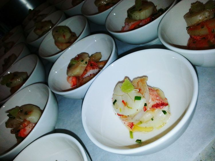 Some Foodporn at work. Scollop Ceviche and Lobster.