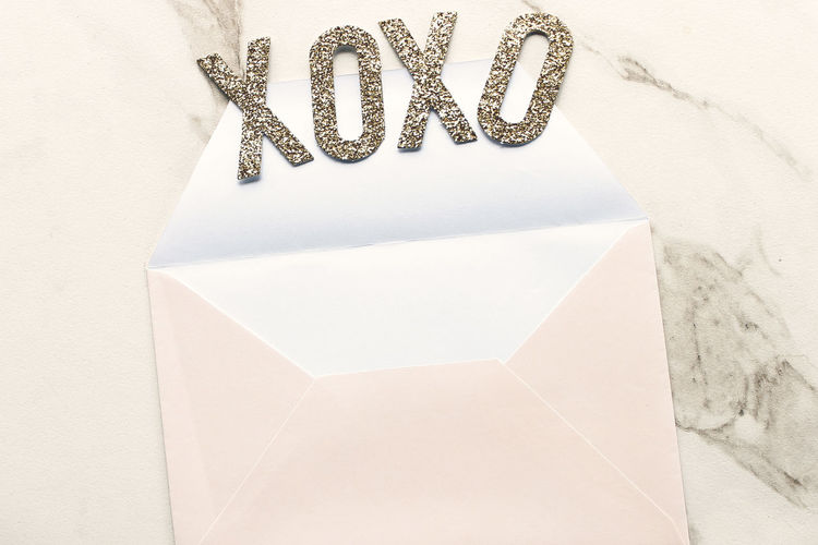 xoxoxo Gold Gold Colored Holiday Love Note Mock Up Overlay Room For Copy Stationary Template Valentines Valentines Day White Background Xoxo