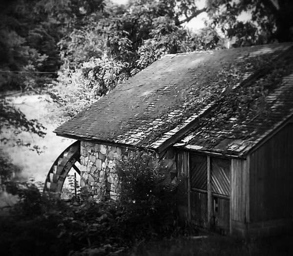 Black And White Old Watermill  Old Builings