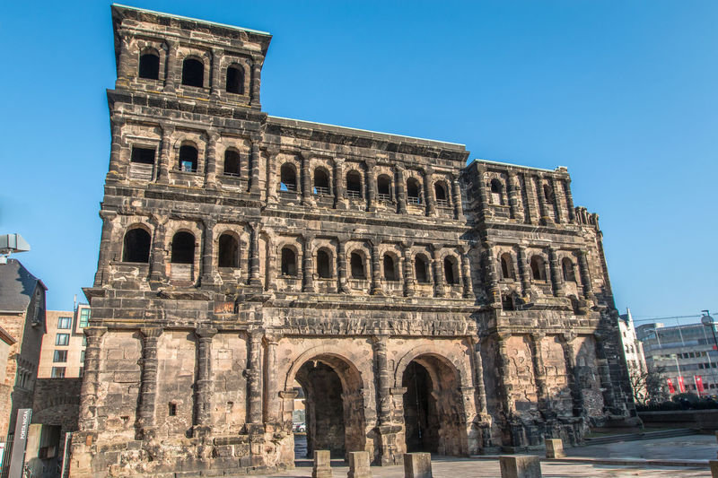 Porta Nigra in Trier Germany Ancient Ancient Civilization Arch Architecture Architecture Building Exterior Built Structure City Clear Sky Day Gaeta History Low Angle View Monument No People Outdoors Porta Nigra Porta Nigra Trier Sky Tourism Travel Travel Destinations Trier Trier Gare