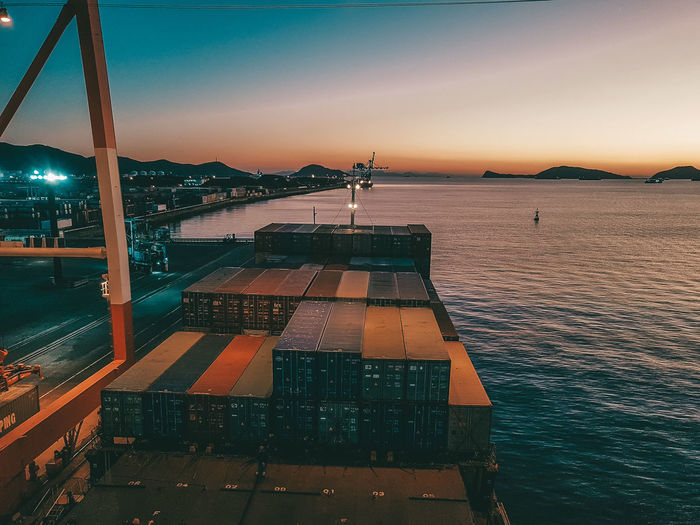 High angle view of sea against sky at dusk on a vessel