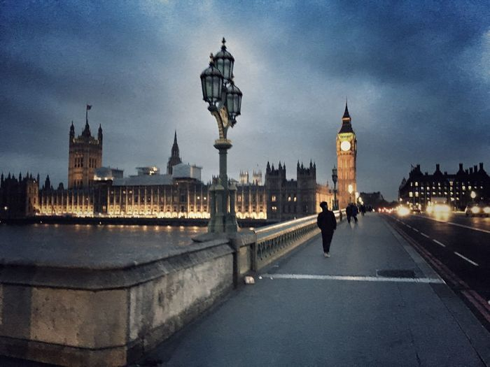 Architecture Built Structure Travel Destinations Tourism Building Exterior Famous Place Street Light Bridge - Man Made Structure International Landmark City Big Ben Travel Connection Dusk Unrecognizable Person Tower Clock Tower The Way Forward Capital Cities  London