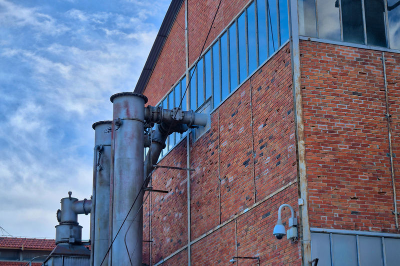 Athens Greece Gazi, Industrial museum Built Structure Architecture Building Exterior Cloud - Sky Low Angle View Industry Factory No People Brick Sky Brick Wall Day Nature Building Outdoors Wall Pipe - Tube Wall - Building Feature Metal Technology