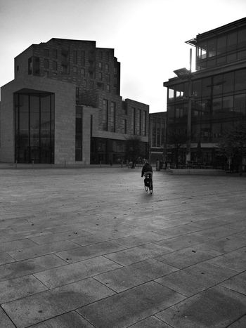 In the morning the city is almost empty.. Architecture Building Exterior Built Structure City Real People Outdoors One Person Day Monochrome Scenics Black And White Photography Landscape Southampton Uk