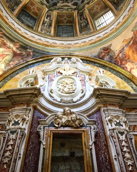 Cappella Pignatelli Art And Craft Religion Low Angle View Human Representation Indoors  Ceiling Place Of Worship Napoli Naples Architecture No People Fresco Restauro Restoration Travel Destinations Day Cultures