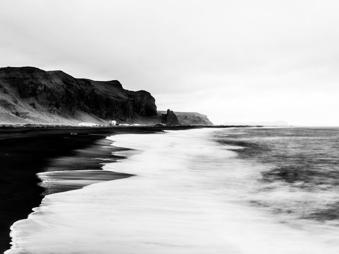 Iceland Nature Black And White Black Beach Black Sand Black Sand Beach Long Exposure Sea Sky Vik