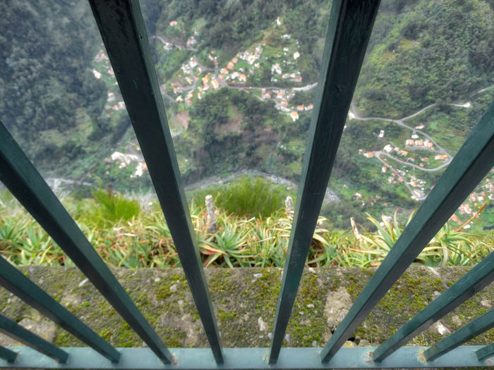 Looking down. Plant Tree Forest Day No People Nature High Angle View Land Growth Beauty In Nature Outdoors Landscape Close-up Window Tranquility Architecture Scenics - Nature Environment WoodLand Rural Scene Nuns Valley Curral Das Freiras Gate Railings Safety Looking Down