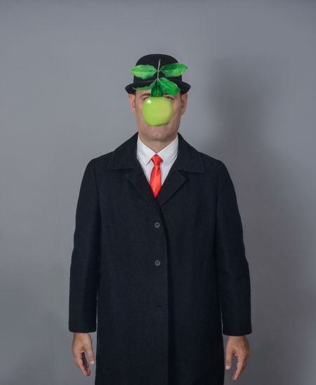 The first man (inspired by Rene Magritte) Israel Me Hat Tie Red Art Renee Magritte Apple One Person Suit Studio Shot One Man Only