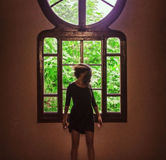 Window Woman Movement Green Color Nature Plants Plant Life Indoors
