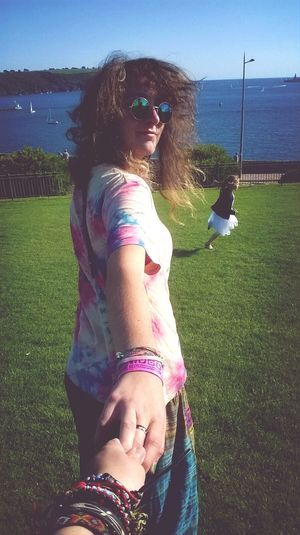 Tie Dye Seaside Girl Holding Hands