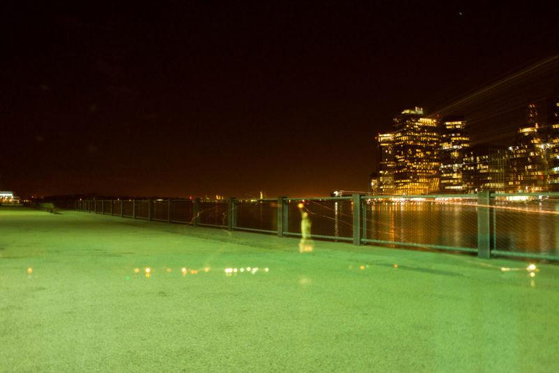 Architecture Illuminated Long Exposure Night Pier River Statue Of Liberty Water