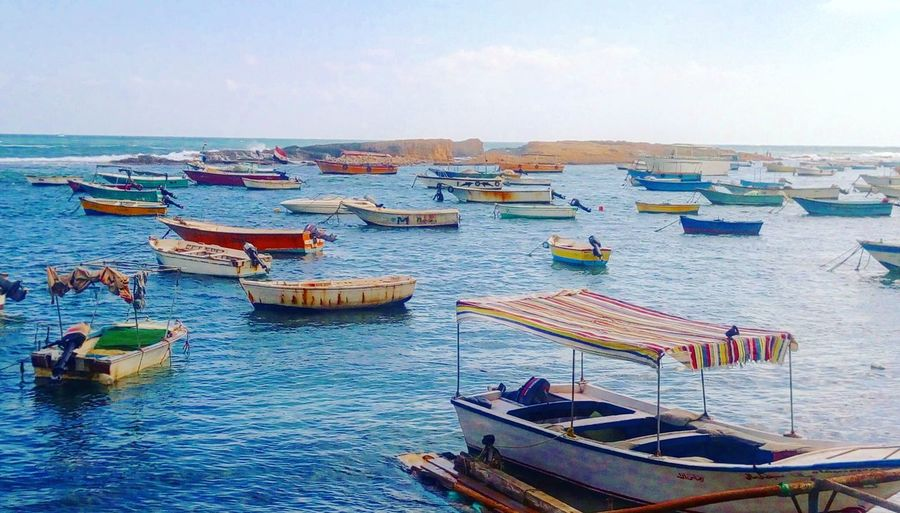 Boats Sea Sky Sea And Sky Nature Beauty In Nature No People Summer Sunny Early Morning Blue Colors Rope Moored Cleat Nautical Vessel Fishing Boat Boats Beach Alexandria Egypt Miami Alexandria EyeEmNewHere Breathing Space
