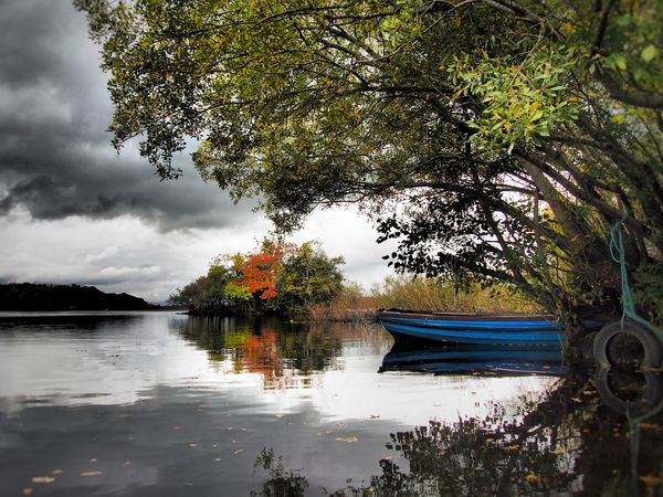 Lough Leane County Kerry Ireland Autumn Autumn Colours Reflection Nature Beauty In Nature Lake Outdoors Lough Leane Travel Destinations Lake View Lough Reflection Lake Landscapes Landscape Scenics Overhanging Trees Boat Autumn Colors Miles Away