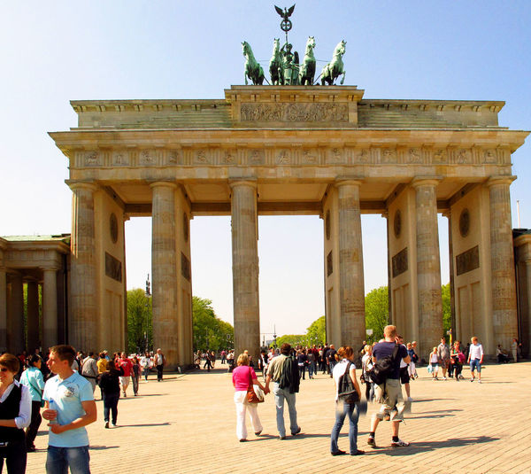 A Taste Of Berlin Architectural Column Architecture Building Exterior Built Structure City City Gate Clear Sky Day History Large Group Of People Lifestyles Men Monument Outdoors People Real People Sculpture Sky Statue Tourism Travel Travel Destinations Triumphal Arch Vacations Women Berlin Love #FREIHEITBERLIN