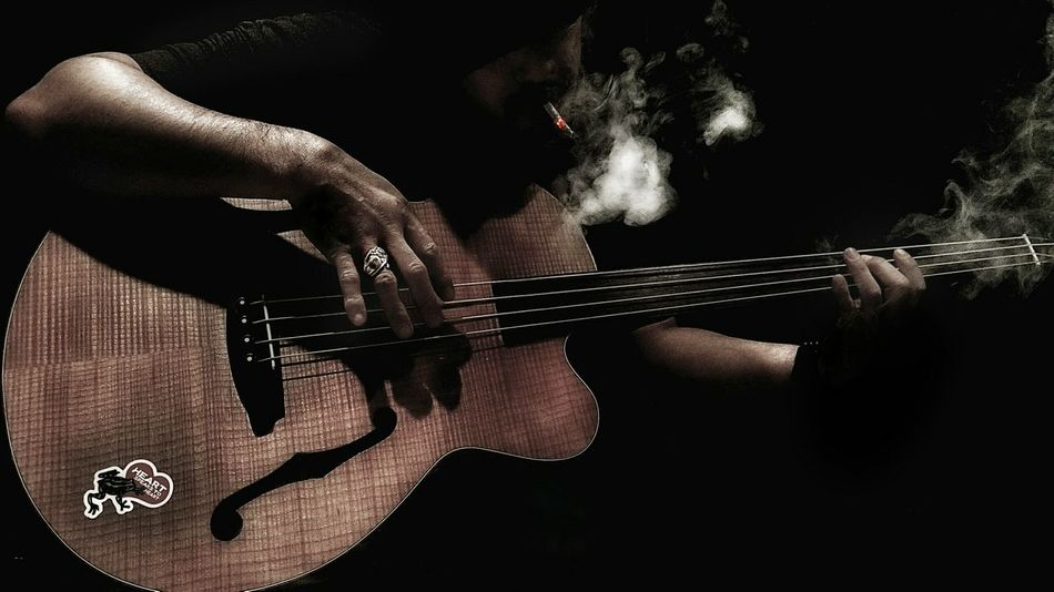 Human Hand Human Body Part Playing Light And Shadow Music Is My Life Bass Enjoying Life Bass Guitar Bassist Music One Person Silhouette Darkness And Light Smoke Smoking Ring My Favorite