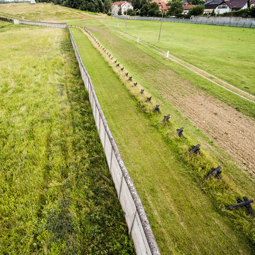 The former border area between West Germany and the GDR, open-air exhibition at Hötensleben, aerial photo taken at an angle, made with drone Aerial Shot Drone  GDR Aerial Aerial View Animal Themes Border Day Exhibition Field Former Germany Grass High Angle View Landscape Mammal Nature No People Outdoors Sport