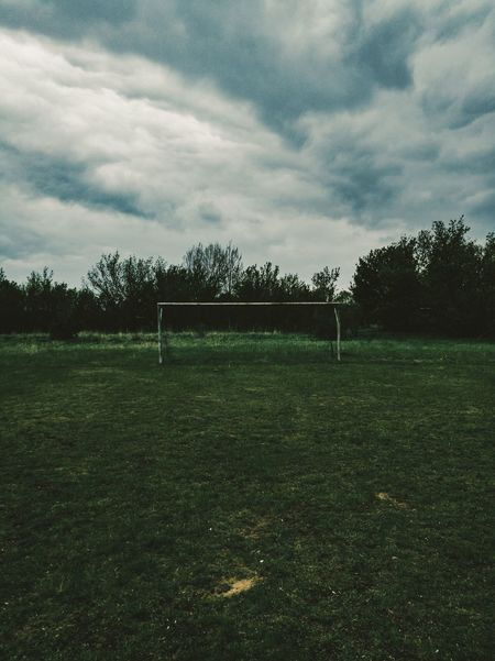 Abandoned Abandoned Places Clean Clouds Cloudy Field Fields Fieldscape Grass Grassy Green Grey Grey Sky Minimal Minimalistic Minimlism Sky Soccer Soccer Field