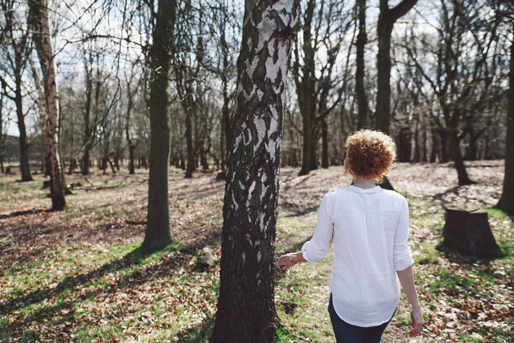 Beauty In Nature Casual Clothing Forest Girl Grass Landscape Leisure Activity Lifestyles London Nature Non-urban Scene Outdoors Park Rear View Richmond Park, London Scenics Sky Spring Tranquil Scene Tranquility Tree White Shirt Original Experiences Feel The Journey