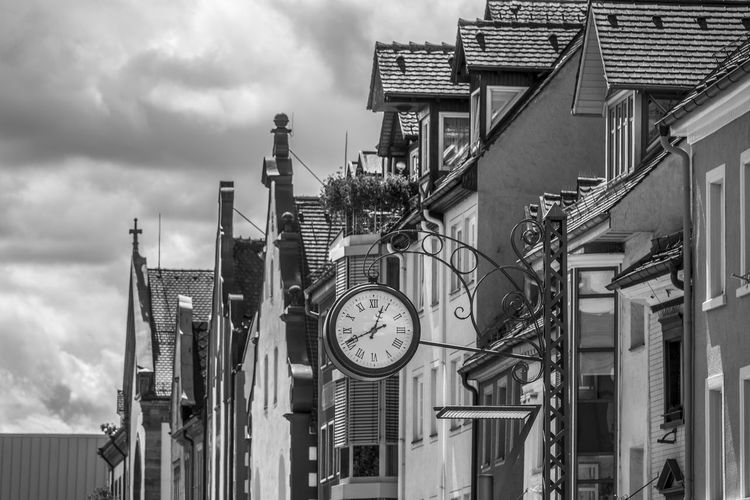 EyeEm Best Shots Old Town Architecture Black And White Blackandwhite Building Building Exterior Built Structure City Clock Cloud - Sky Day Factory Geometric Shape Industry Low Angle View Nature No People Outdoors Pipe - Tube Residential District Sky Time Truss Villingen-schwenningen