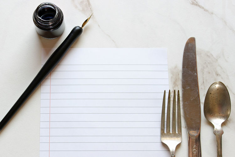 What's for dinner? Black Blank Cooking Culinary Cutlery Food And Drink Fountain Pen Ink Bottles Kitchen List Marble Meal Memories Menu Notebook Paper Notes Paper Pen Planning Recipe Room For Copy Silver  Silverware  White Writing