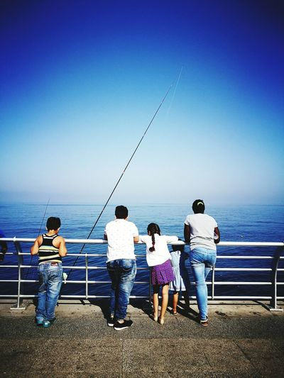 Horizon Over Water Sea Water Clear Sky Fishing Togetherness Relaxation Tranquility Blue Family Middle East Lebanon