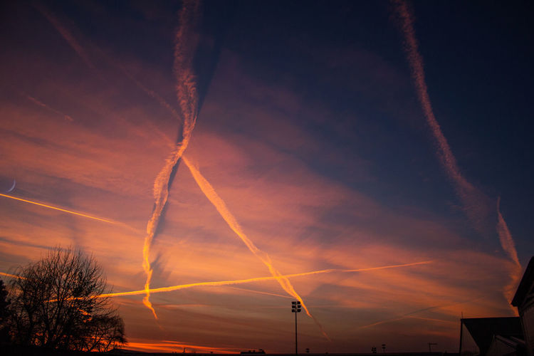 Plane trails in the sky during sunset Plane Trails! Beauty In Nature Cloud - Sky Environment Fuel And Power Generation Idyllic Landscape Low Angle View Nature No People Orange Color Outdoors Plane Trails Plant Scenics - Nature Silhouette Sky Sunset Tranquil Scene Tranquility Tree Vapor Trail