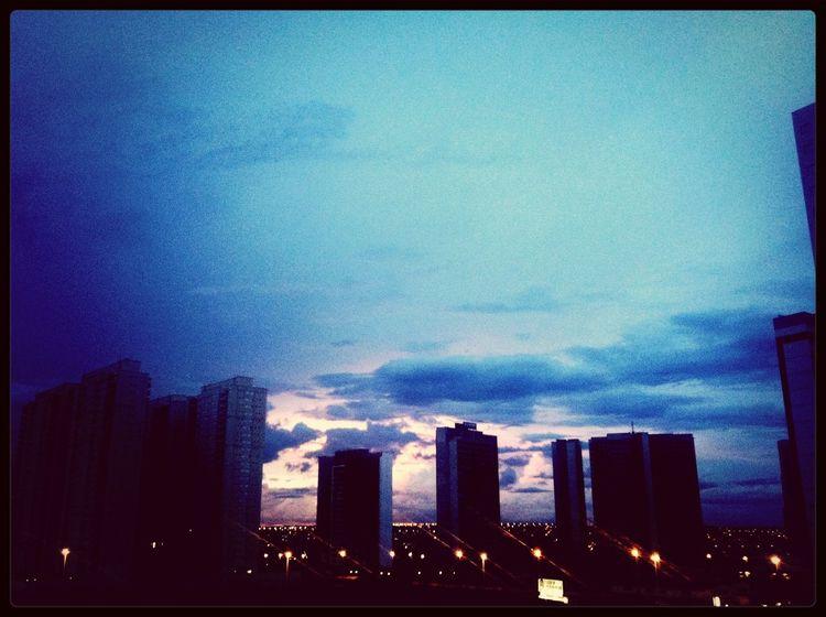 Sunset Buildings City Lights