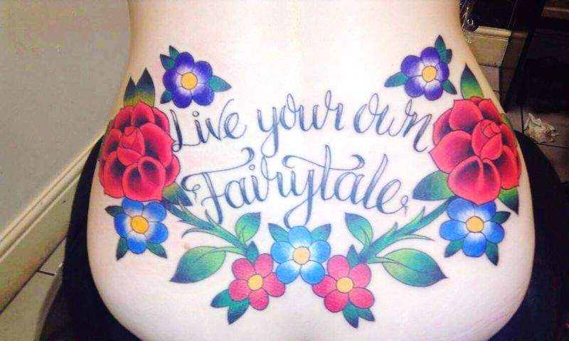 My First Tattoo! Live Your Own Fairytale Gorgeous Tattooed Woman Colourful Flowers Done by KevinDunne KADink 5 Hours EyeEmNewHere