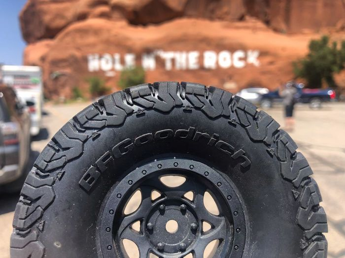 Wheel n' the rock Moab  Hole N' The Rock Hole In The Wall Bfgoodrich 4x4 Land Vehicle Wheel Focus On Foreground Tire Close-up Car Motor Vehicle Outdoors