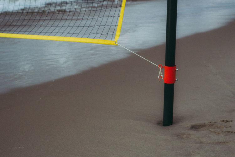 High angle view of basketball hoop on beach