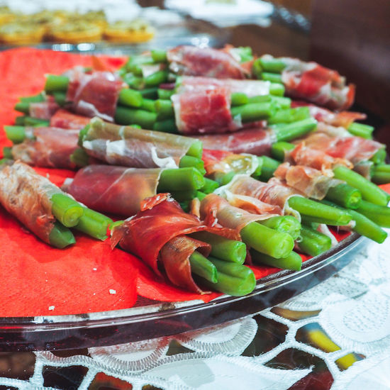 Bacon Close-up Food Food And Drink Freshness Green Beans Indoors  No People Plate Ready-to-eat Vegetable