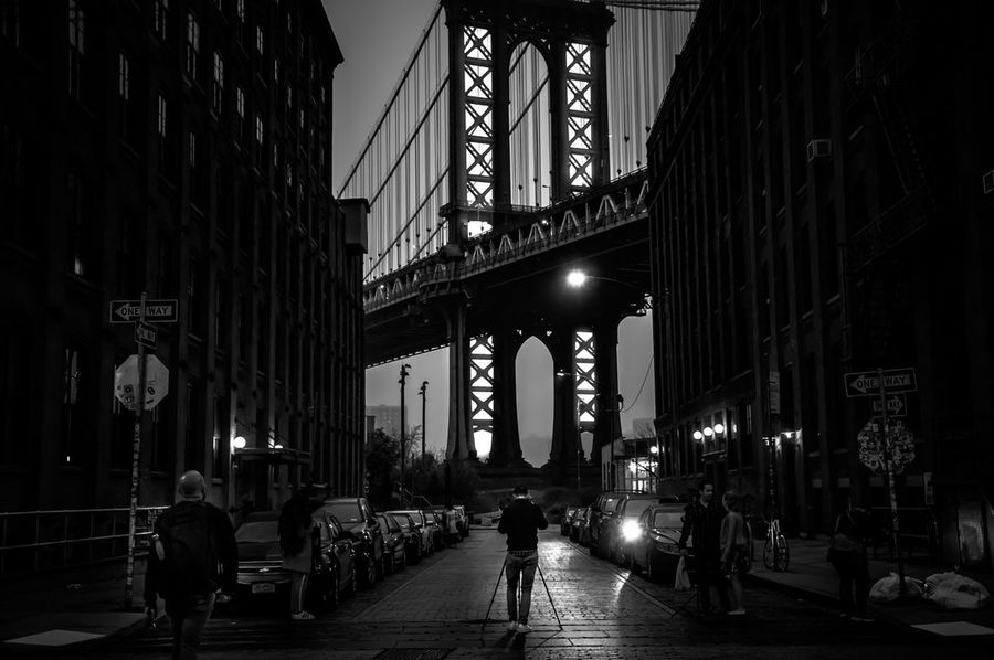 C'era Una Volta In America New York New York City DUMBO, Brooklyn Brooklyn Architecture Night City Life People Illuminated Black And White Blackandwhite The Week On EyeEm Eyeemphotography Fine Art Photography Travel Destinations EyeEm Masterclass Streetphotography EyeEm Gallery Scenics Black And White Friday Travel Traveling Black And White Friday The Graphic City