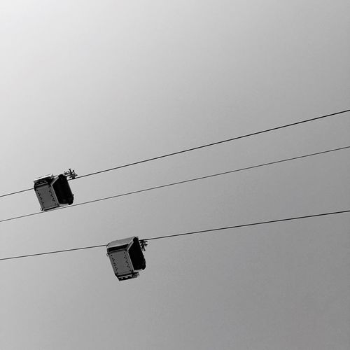 Low Angle View Of Overhead Cable Car Against Clear Sky
