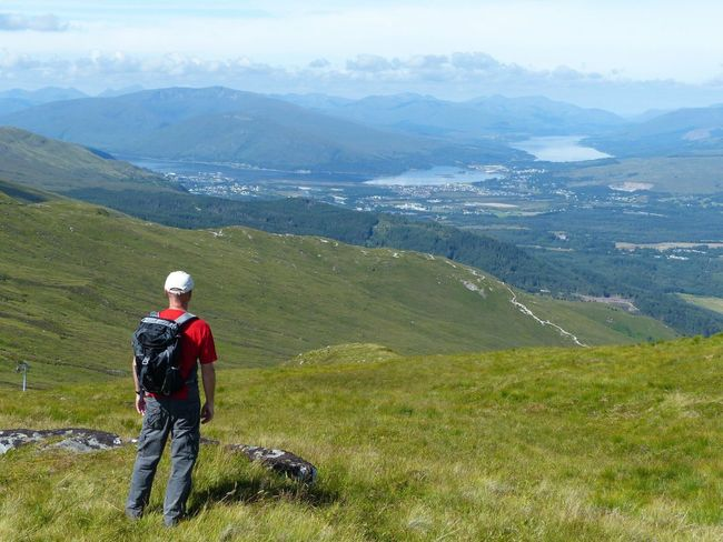 Aonach Mor. Aonach Mor EyeEmNewHere Scotland Mountain Beauty In Nature Scenics - Nature Leisure Activity One Person Tranquil Scene Plant Landscape Mountain Range Tranquility Green Color Nature