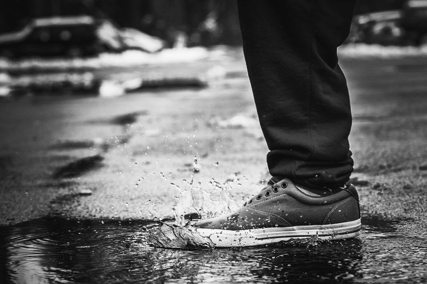 Capture The Moment Sitram Photo's Splash Water Rain Puddle  Shoes Raindrops Streetphotography Blackandwhite Taking Photos Photography In Motion Moments Monochrome Photography