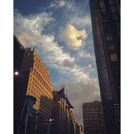 Sunset on 7th Avenue. ... Oct. 5th, 2015 EmmaCphotos EmmaCPhotoSafari Iheartny Pennstation Manhattan NYC Sunset BlueSky Architecture