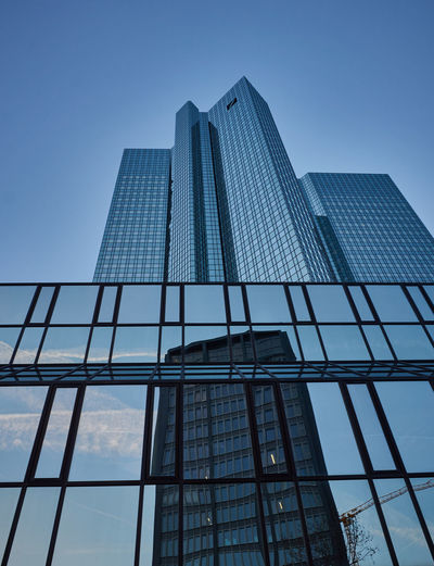Skyline reflections Architecture Reflection Skyline City Modern Urban Glass Building Tower Skyscraper City Skyline Tall Office Building Low Angle View Building Exterior Tall - High Built Structure Glass - Material Frankfurt Am Main Clear Sky Day No People Sky Blue Deutsche Bank